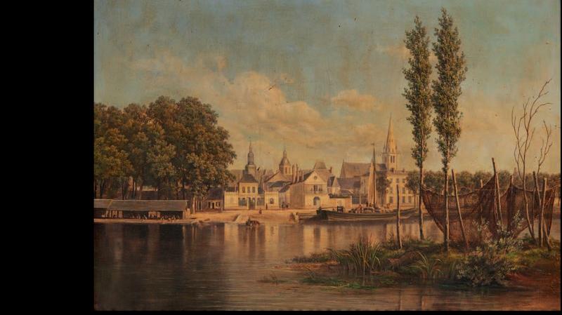 La flèche, vue des bords du Loir, 1863